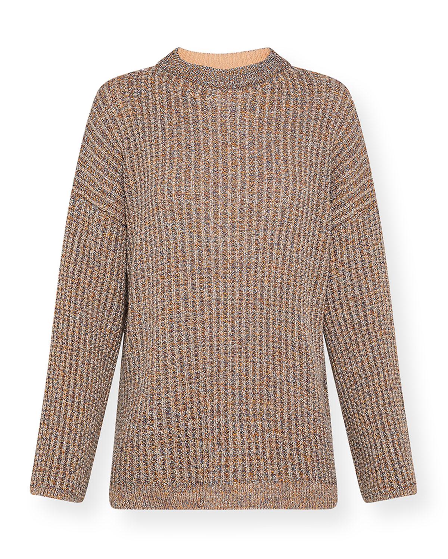 Metallic Wool Open-Back Sweater with Taping