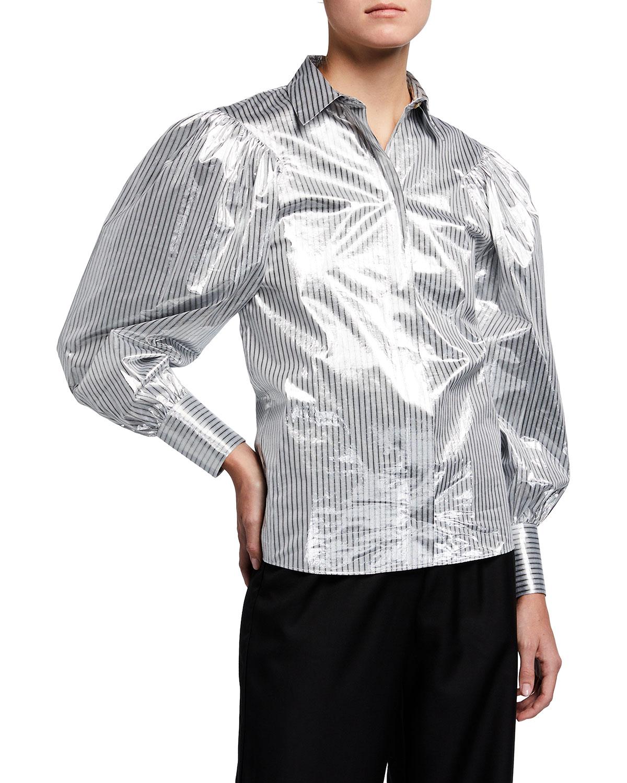Marcelle Metallic Striped Button-Down Blouse
