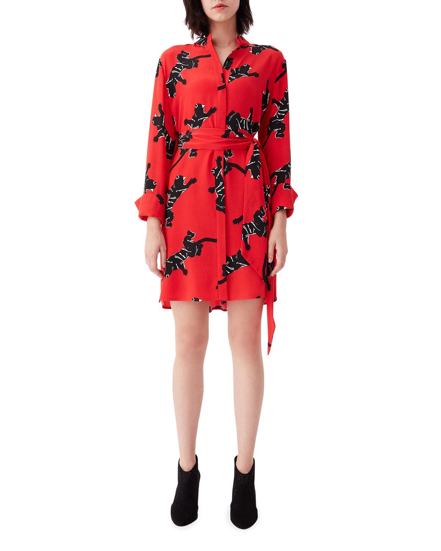 Jaguar-Print Silk Self-Tie Shirtdress