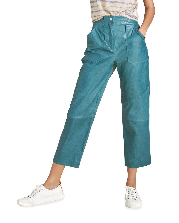 Veronica Beard Pants ENRICA LEATHER STRAIGHT-LEG PANTS
