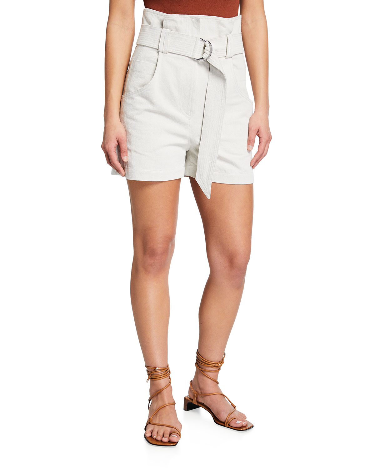Pirlo Belted High-Rise Shorts