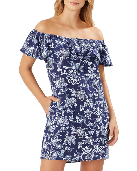 Tommy Bahama Floral Off-the-Shoulder Ruffle Mini Coverup Dress