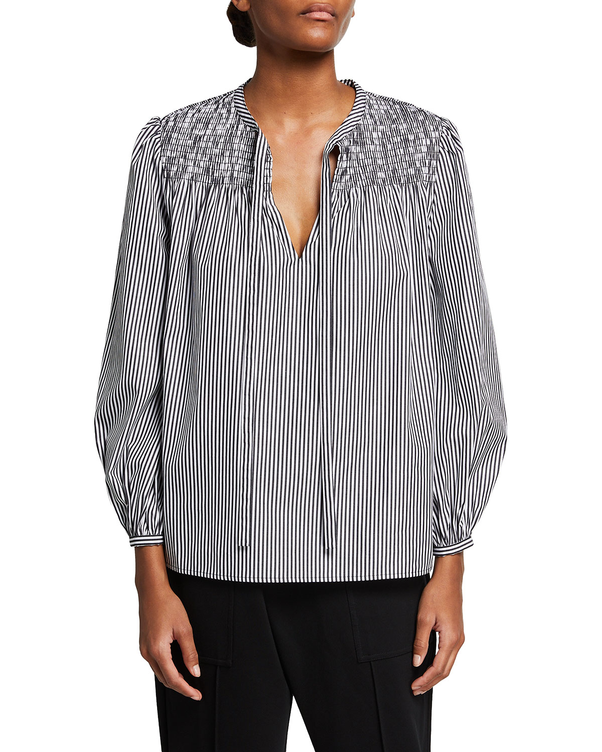 Austin Long-Sleeve Smocked Blouse with Ties
