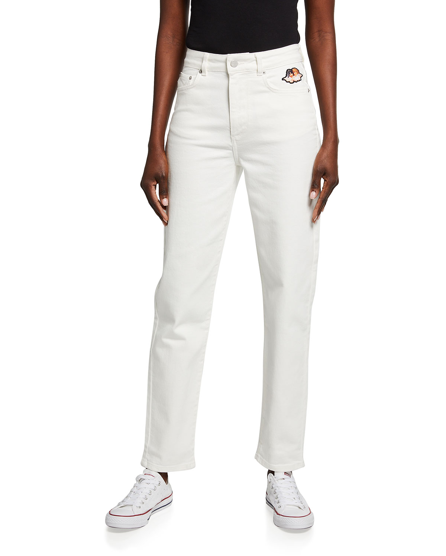Tara Straight-Leg Jeans with Angels Logo