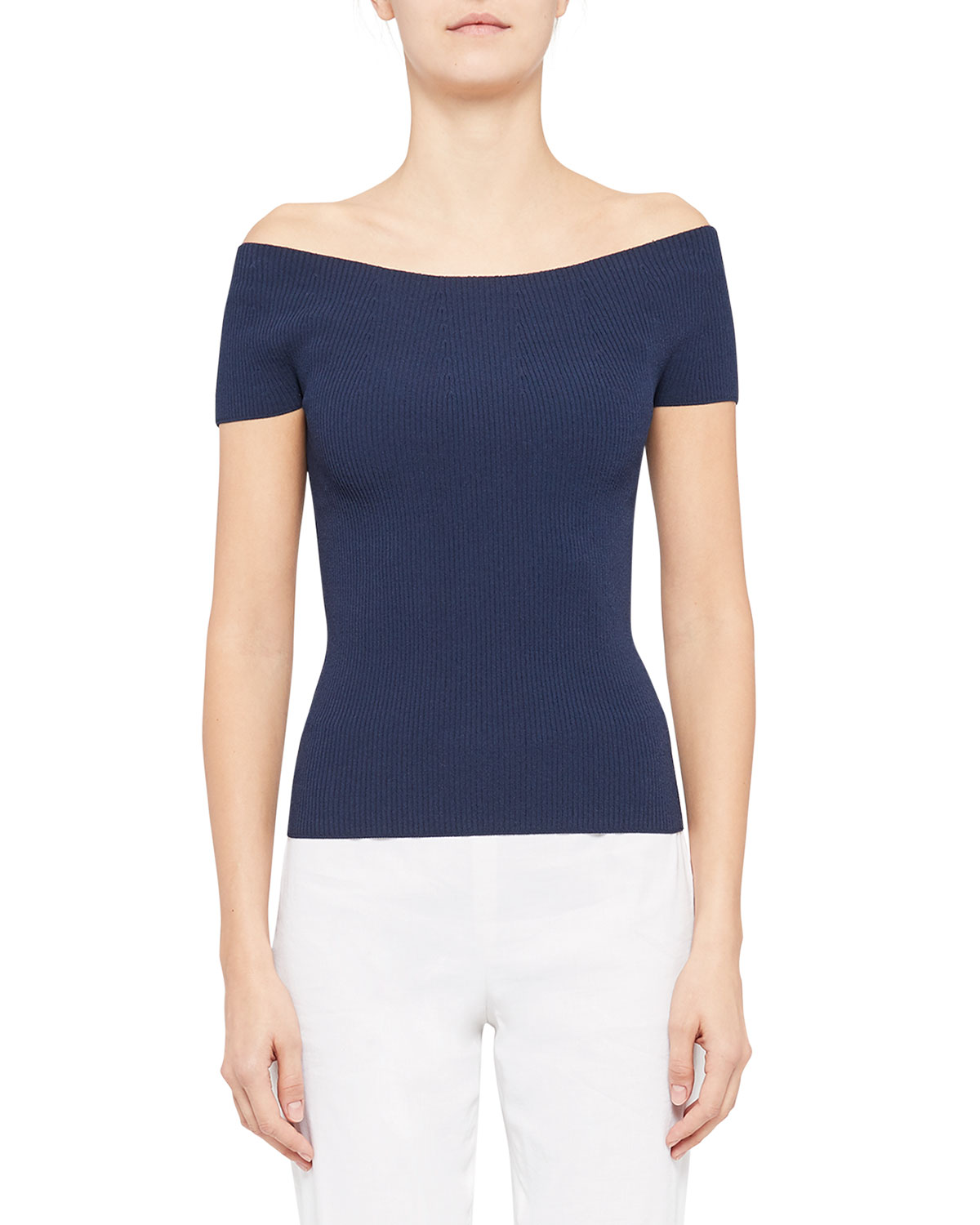 Theory OFF-THE-SHOULDER COMPACT KNIT PULLOVER