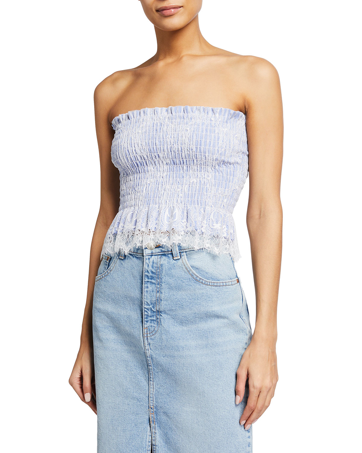 Strapless Bustier French Lace Top