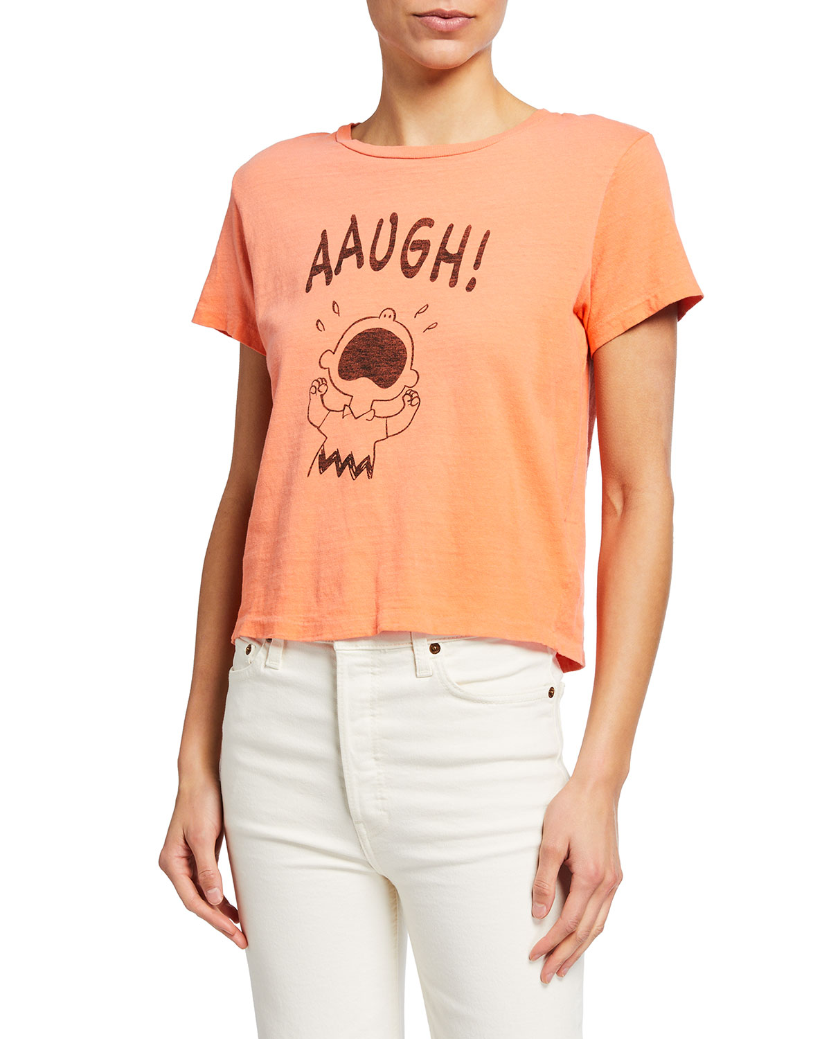 Re/done Cottons PEANUTS CHARLIE BROWN 'AAUGH!' CLASSIC GRAPHIC TEE