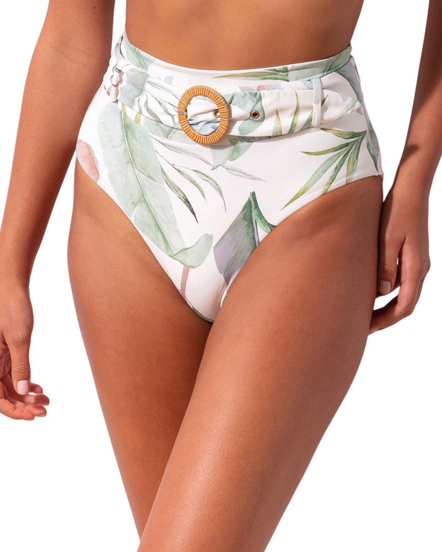 Revel Rey Clothing QUINN HIGH-WAIST FLORAL BIKINI BOTTOM - ISLA LEAF