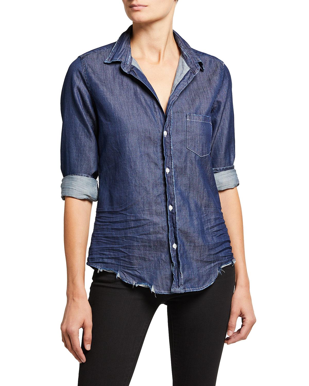 Barry Woven Button-Up Denim Shirt