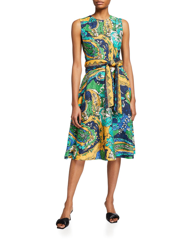 Kobi Halperin Midi dresses SOPHIE TIE-WAIST SLEEVELESS DRESS