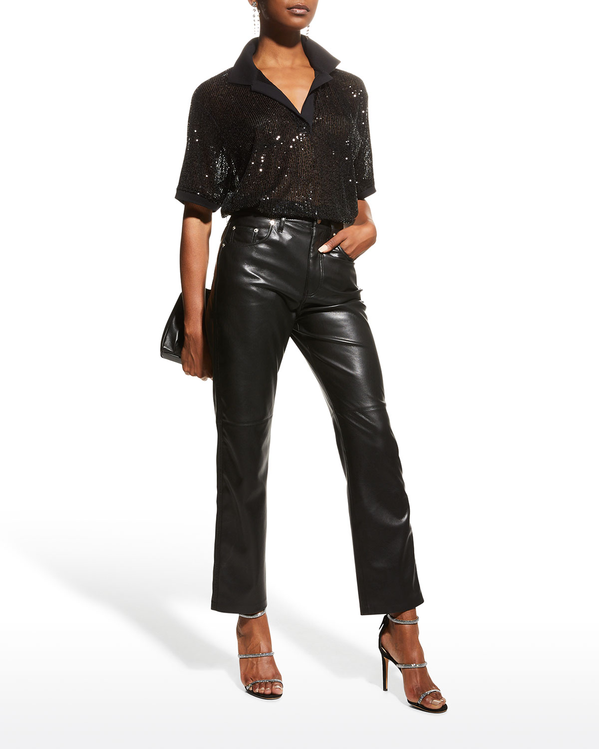 Williams Sequined Collared Top