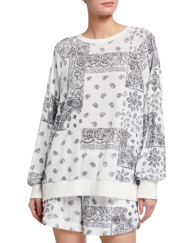 Theo Bandana-Print Sequin Sweatshirt