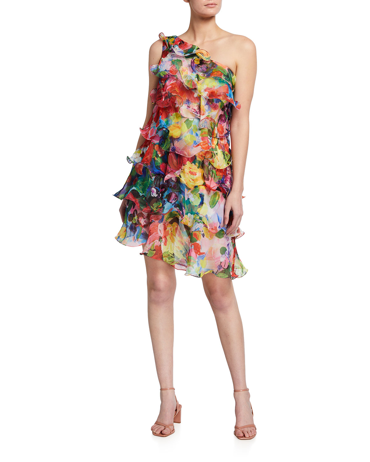 Marchesa Notte One Shoulder Asymmetrical Tiered Printed Chiffon Mini Cocktail Dress In Red Multi