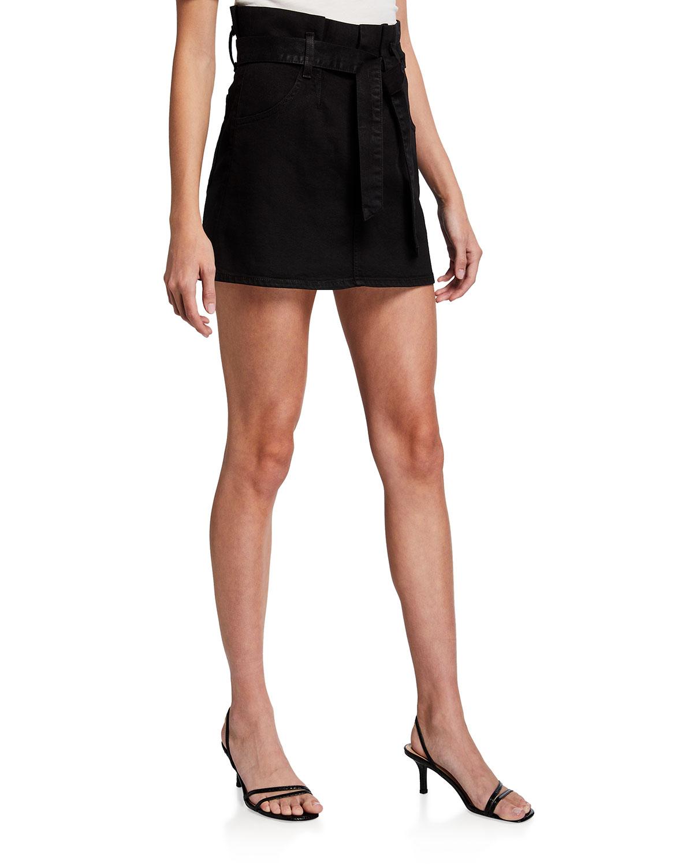Amazing Paperbag Coated Denim Skirt