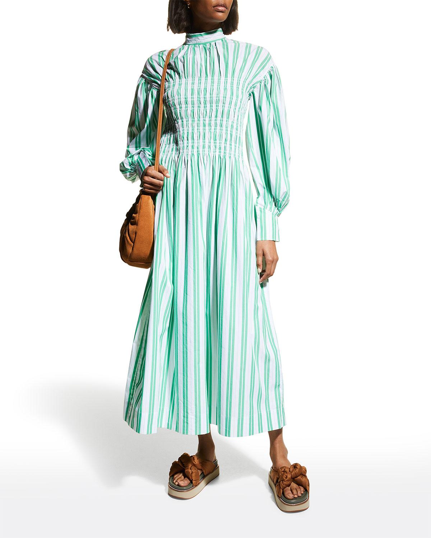 Balloon-Sleeve Stripe Cotton Dress