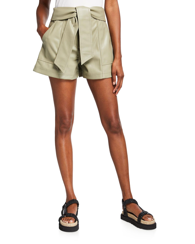 Mari Faux-Leather Tie-Waist Shorts