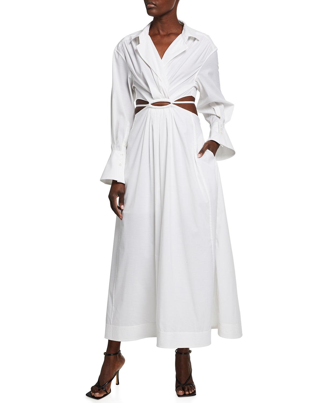 Jonathan Simkhai ALEX PLEATED POPLIN CUTOUT MAXI DRESS