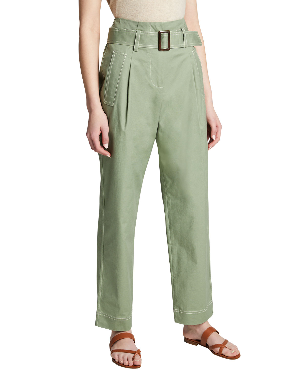 Andie Topstitch Belted Utility Pants