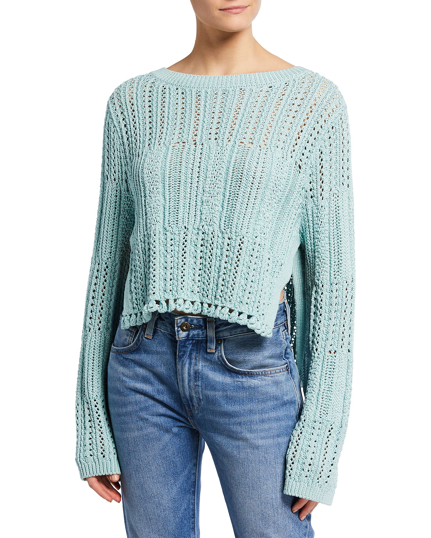 Amberly Cropped Chunky Cotton Sweater