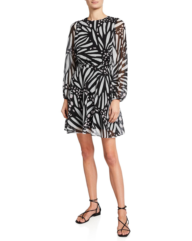Milly Dresses ELMA BUTTERFLY-PRINT CHIFFON DRESS