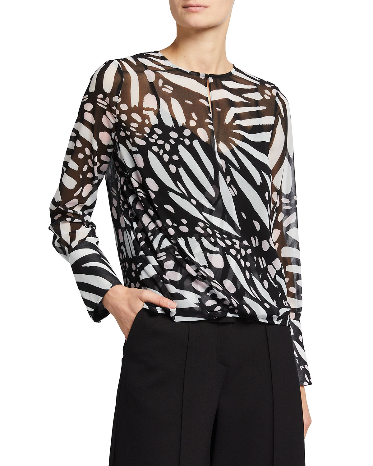 Milly Blouses ELYSA BUTTERFLY PRINT CHIFFON TOP