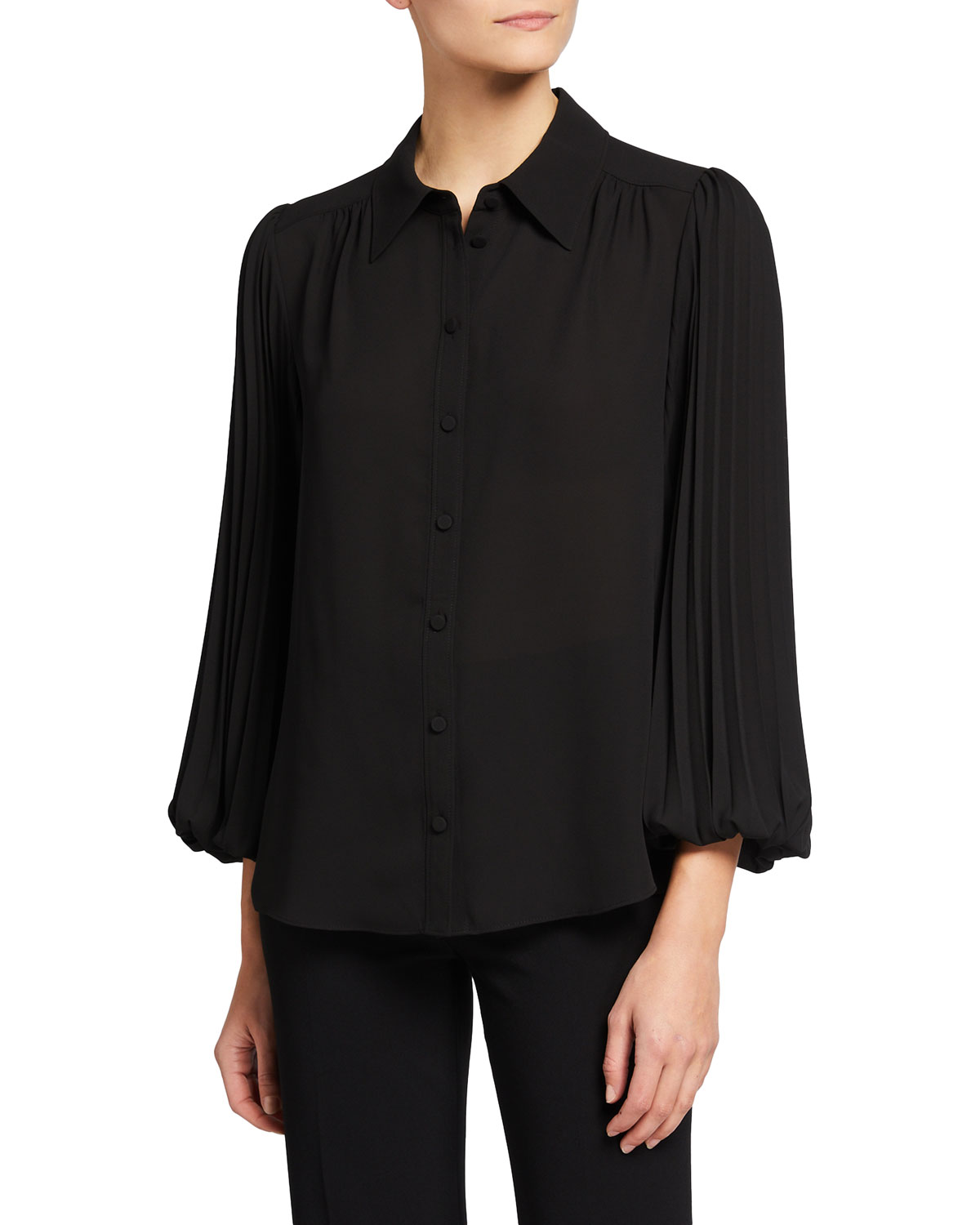 Milly LINA PLEATED-SLEEVE GEORGETTE BLOUSE