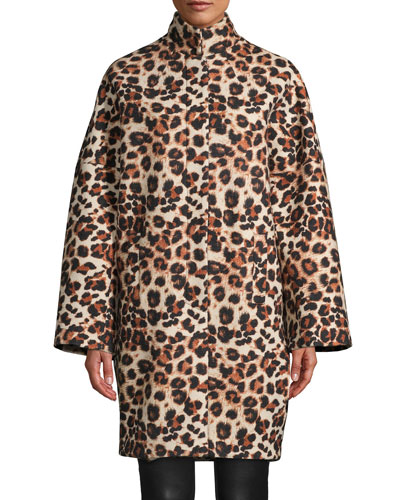 Leopard-Print Wool Coat