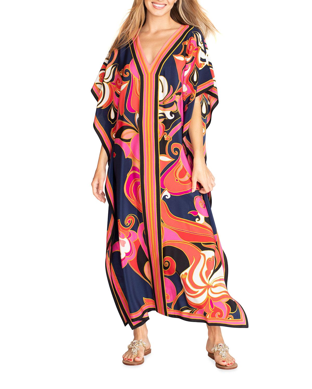 Trina Turk THEODORA PRINTED SILK CAFTAN DRESS