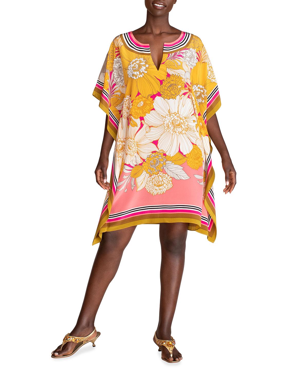 Trina Turk THEODORA FLORAL-PRINT SILK CAFTAN DRESS
