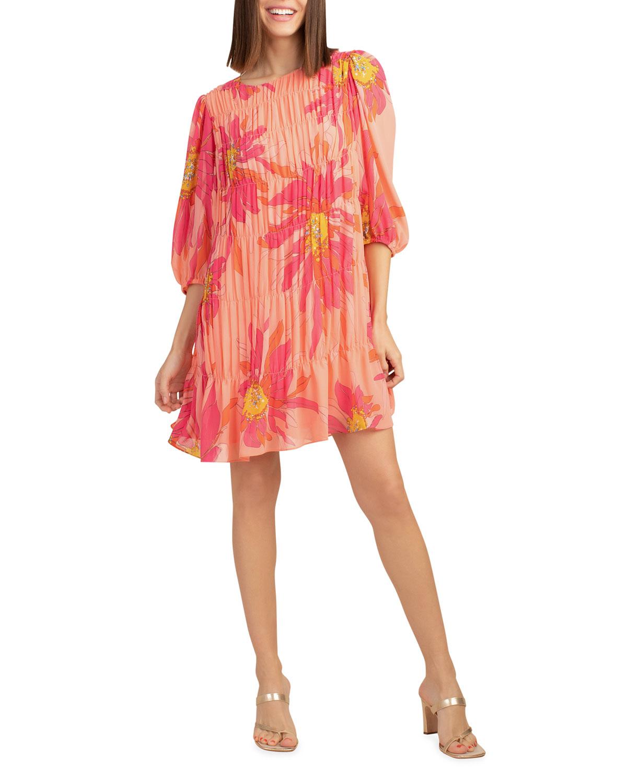 Trina Turk Dresses SILVERY FLORAL BLOUSON-SLEEVE DRESS