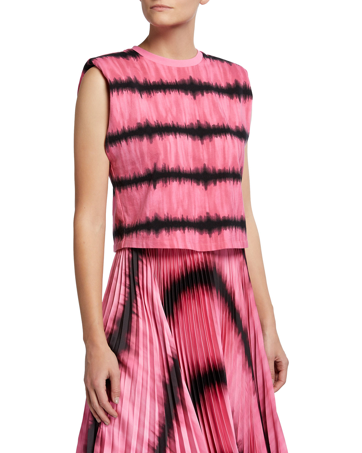 Alice And Olivia Cottons DESMA TIE-DYE TANK WITH SHOULDER PADS