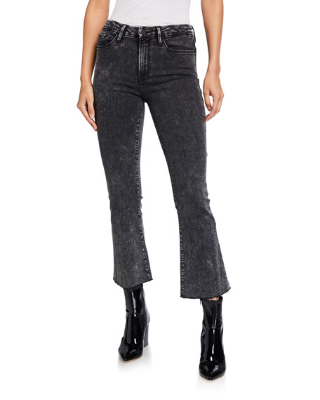 FRAME Le Cropped Mini Boot-Cut Acid Wash Jeans