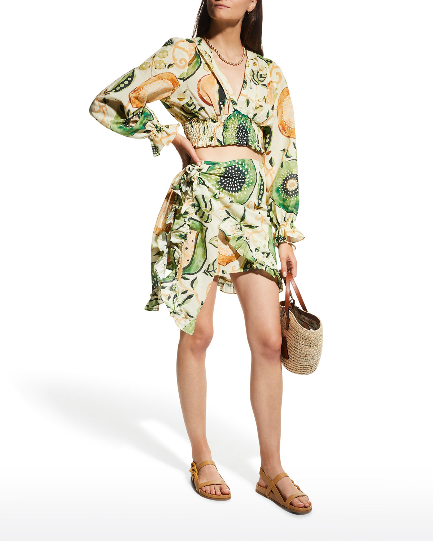 Bansari Faux-Wrap Mini Skirt