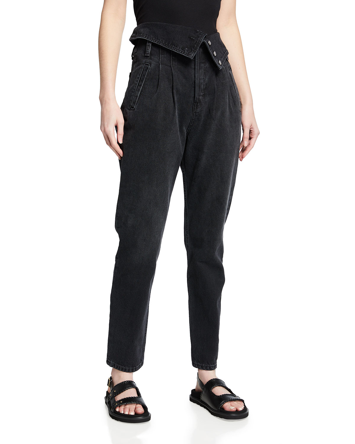 Re/done Denims 80S FOLD-OVER HIGH-RISE JEANS