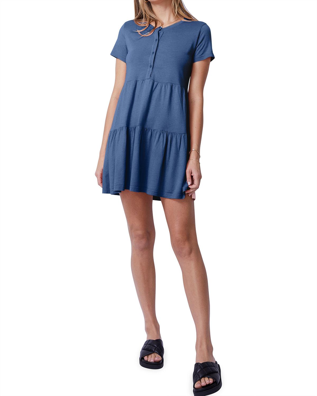 Short-Sleeve Henley Ruffle Dress