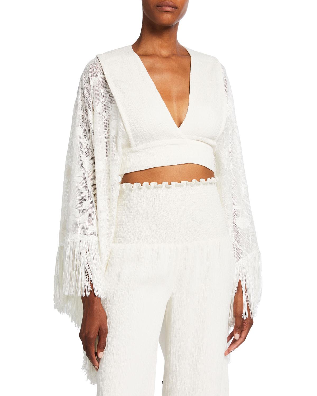 Palomi Lace-Sleeve Crop Top
