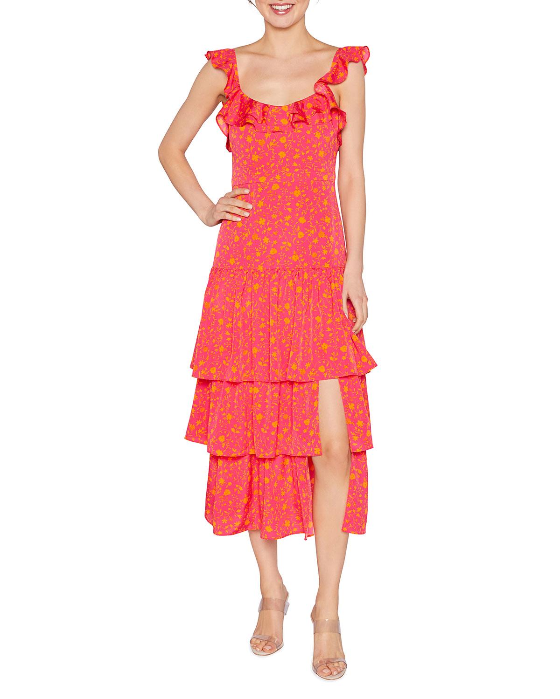 Janie Ruffle-Trim Tiered Midi Dress