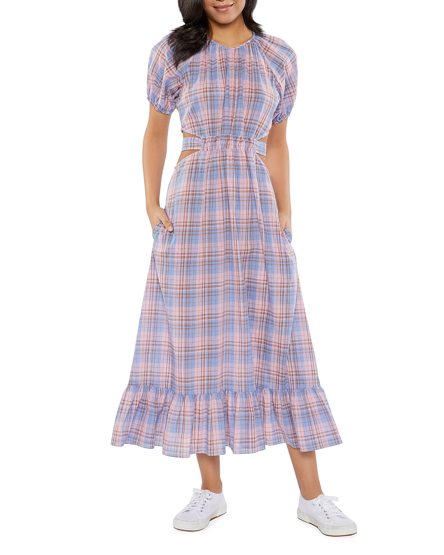 Payson Cutout-Waist Plaid Dress