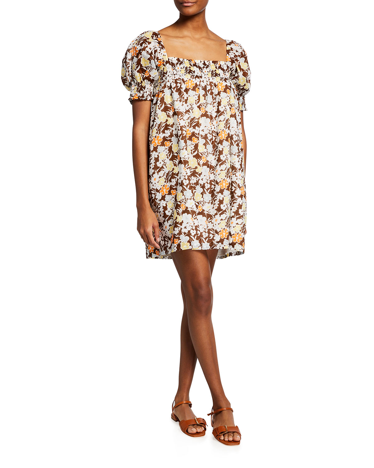 Tory Burch Cottons FLORAL PRINT PUFF-SLEEVE SMOCKED MINI DRESS