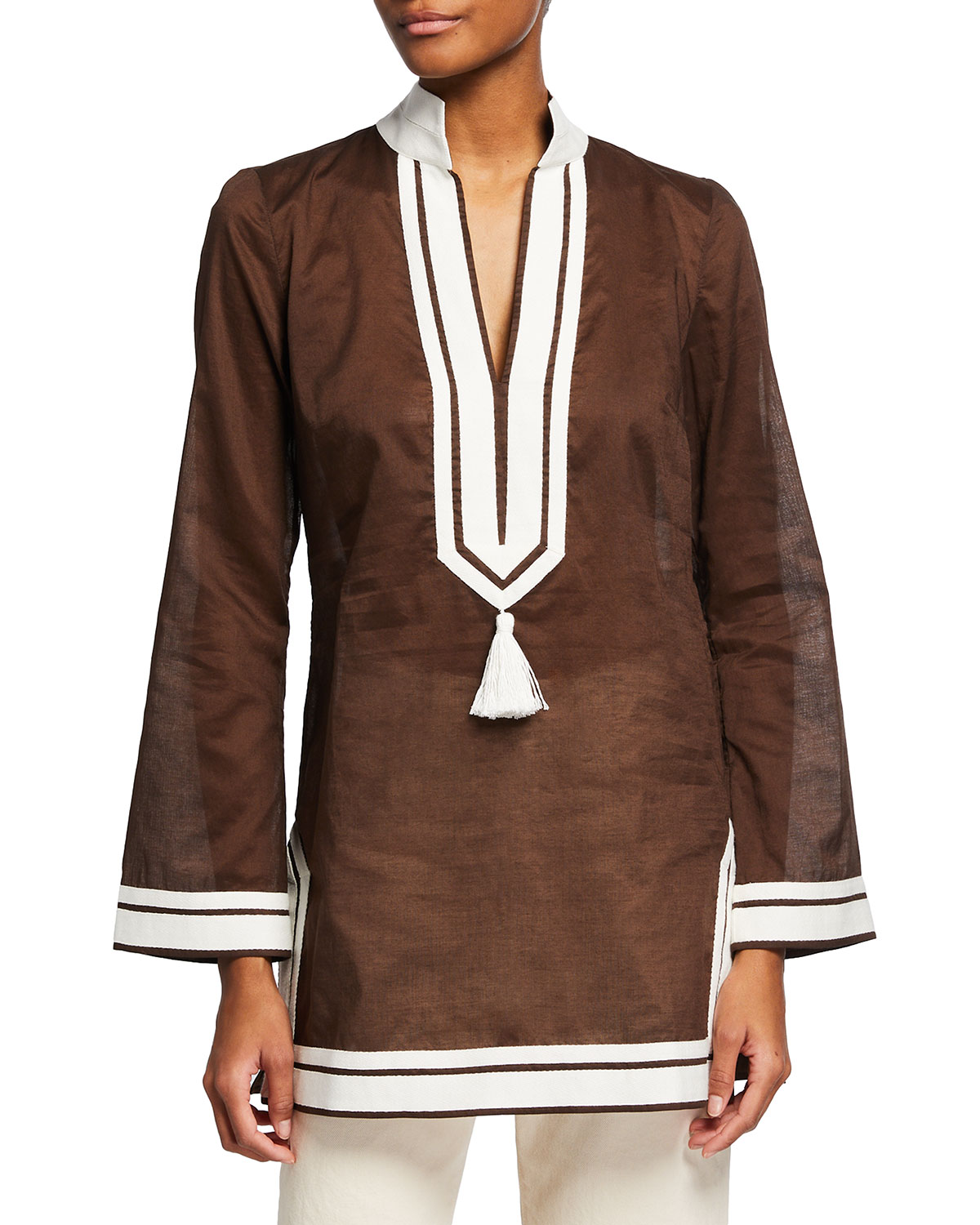 Tory Burch SOLID TASSEL-FRONT COTTON VOILE TUNIC