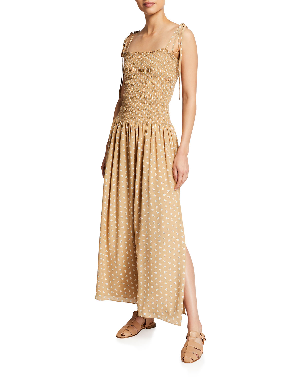 Rebecca Taylor Silks EMMY SLEEVELESS RUCHED MAXI DRESS