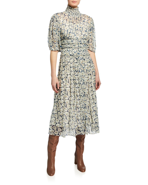 Rebecca Taylor Midi dresses SHORT-SLEEVE DECO FLEUR MIDI DRESS