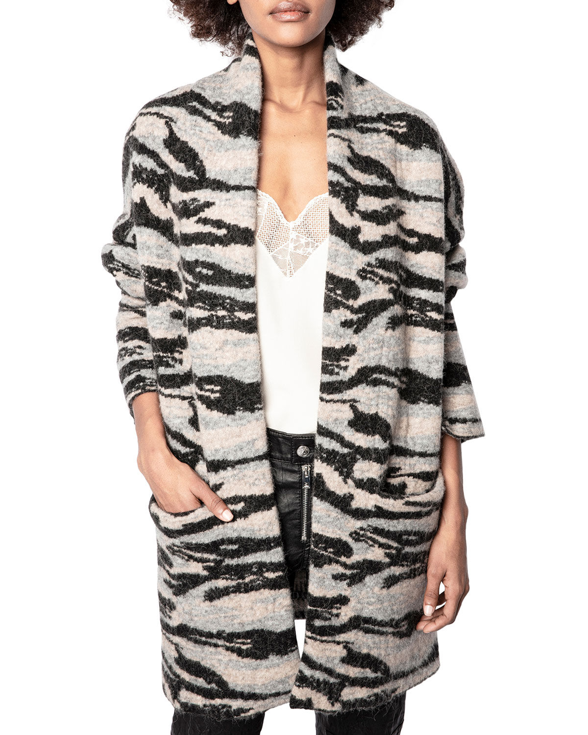 Zadig & Voltaire MIA WOOL-BLEND CAMO JACQUARD CARDIGAN