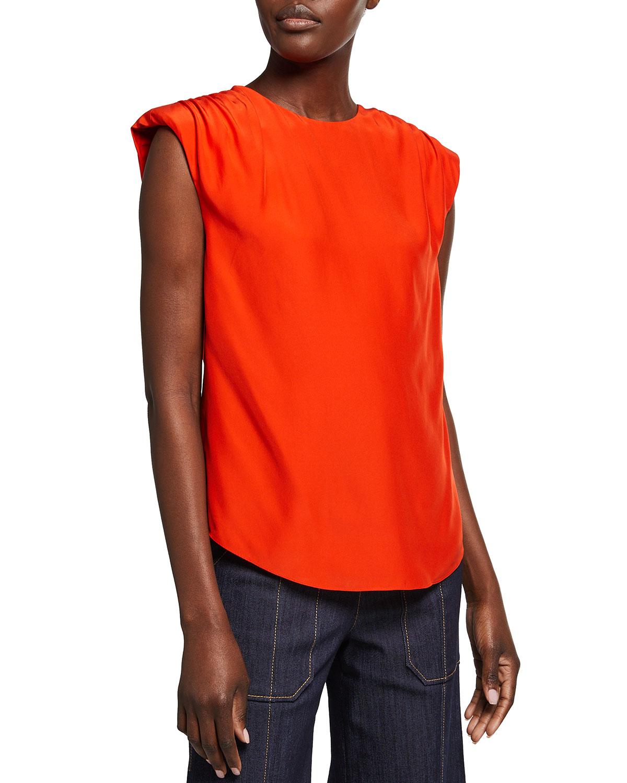 Kara Cap-Sleeve Silk Top