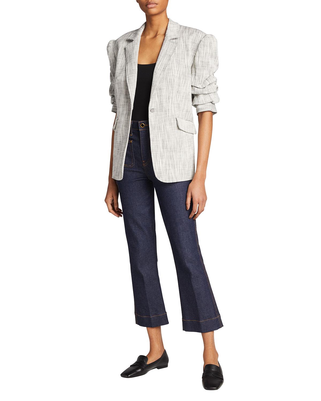 Lena Ruched Short-Sleeve Blazer