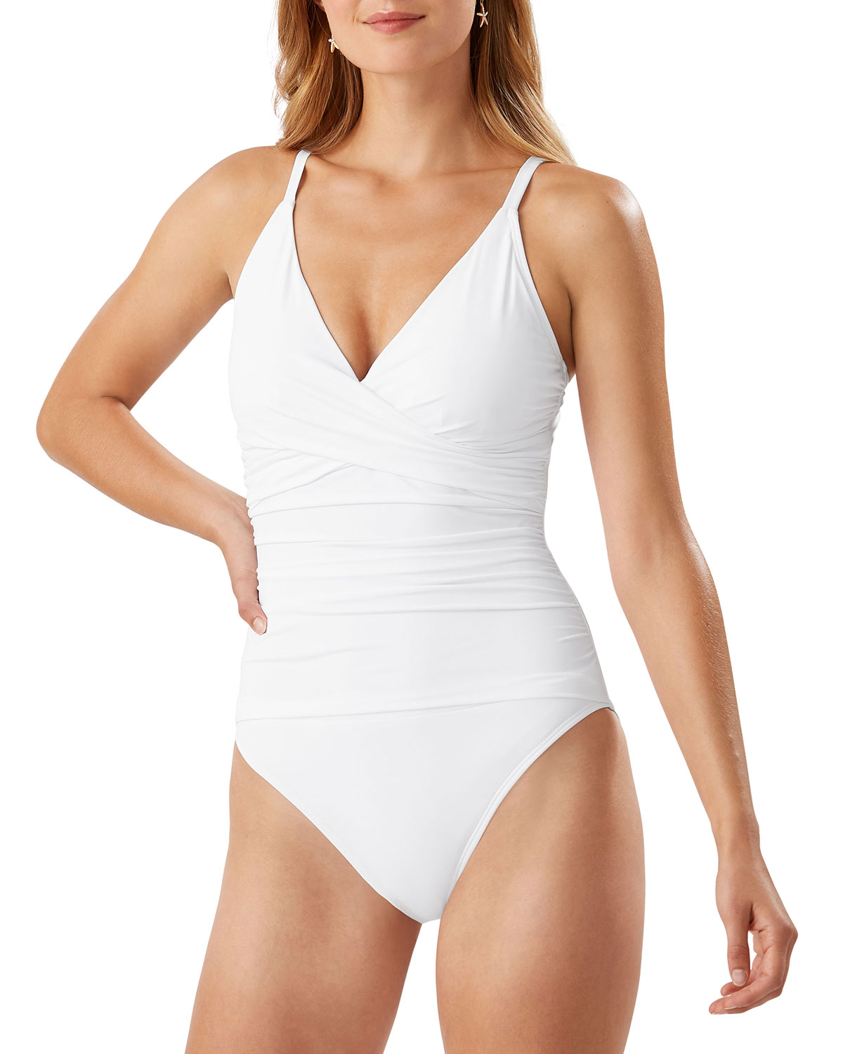 Pearl Cross-Front One-Piece Swimsuit