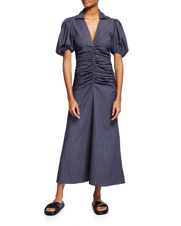 Ganni Downs STRETCH PINSTRIPE DRESS
