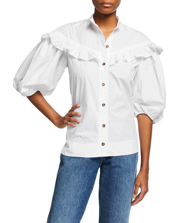 Ganni Cottons COTTON POPLIN FRILL SHIRT