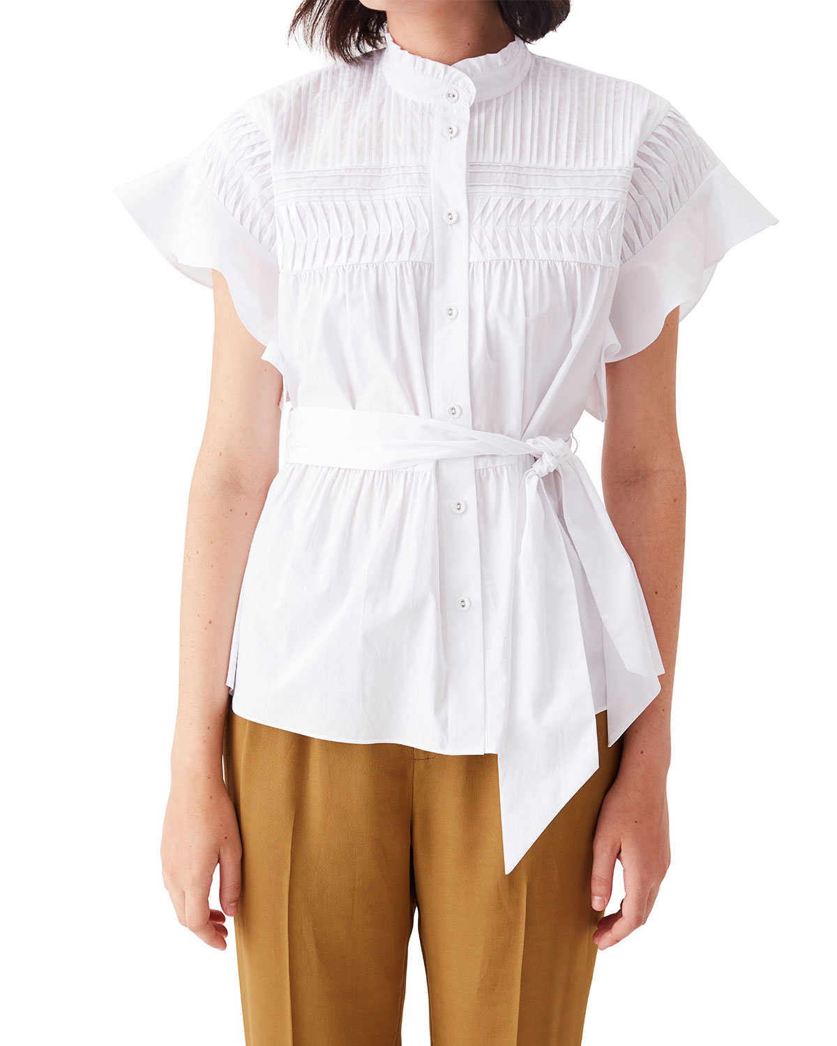Zoe Pleated Cotton Belted Blouse