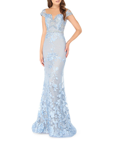 Mac Duggal Sweetheart Illusion Cap-Sleeve Embellished Lace Applique Mermaid Gown